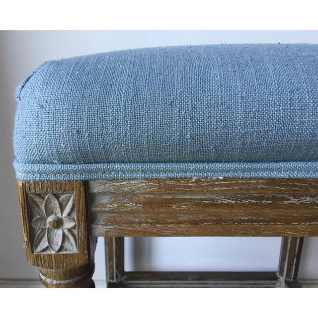 French 2 Carved French Linen Upholstered Stools For Sale - Image 3 of 10