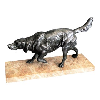 French Bronze Sporting Dog Sculpture on Marble