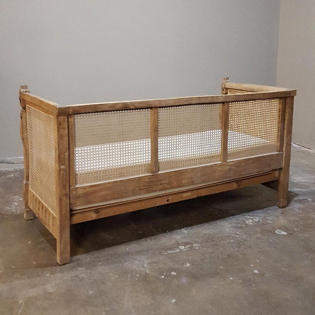 19th Century French Walnut Stripped Louis XVI Sofa For Sale - Image 11 of 12