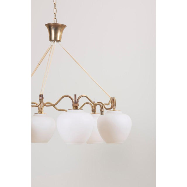 1950s Six Shade Chandelier by Bent Karlby for Lyfa, Denmark, 1950s For Sale - Image 5 of 10