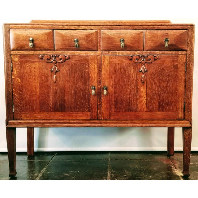 Antique English Oak Arts & Crafts Sideboard / Buffet For Sale - Image 13 of 13