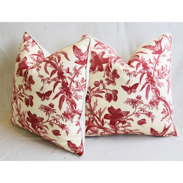 "P. Kaufmann Aviary & Floral Toile Feather/Down Pillows 23"" Square - Pair For Sale - Image 9 of 13"