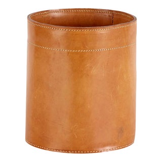 Vintage Leather Waste Basket in the Style of Carl Aubock For Sale