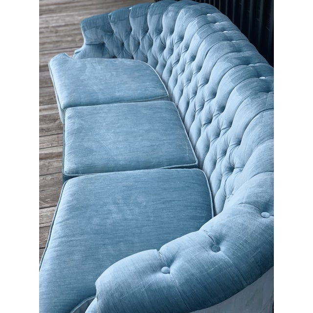 Mid Century Modern Sky Tufted Blue Chesterfield For Sale In Atlanta - Image 6 of 13