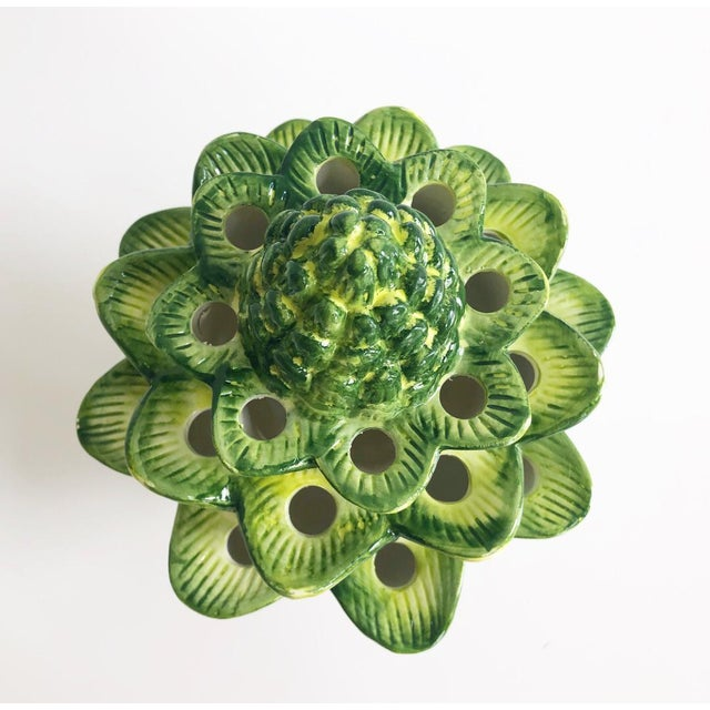 Green Large Green Artichoke Style Tulipiere Vase For Sale - Image 8 of 10