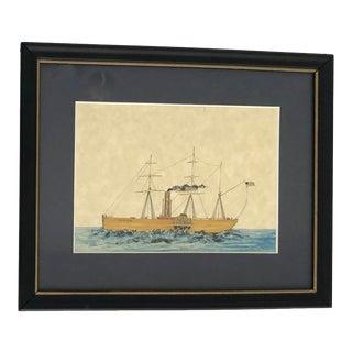Vintage Framed Steamship Print