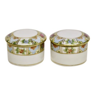 Nippon Porcelain Pill Boxes, Pair For Sale