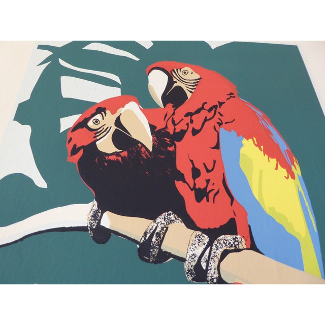 Large Vintage Macaw Parrot Silkscreen - Image 3 of 6