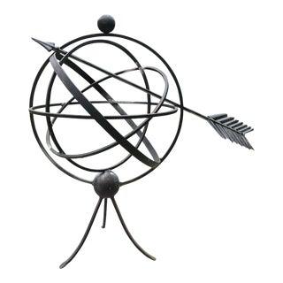 Black Iron Orb Sphere/Armillary Sculpture Indoor/Outdoor Garden Sculpture