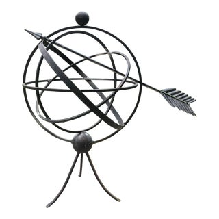 Orb Sphere/Armillary Sculpture Indoor/Outdoor Garden Sculpture With Touches of Copper For Sale