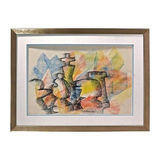 Abstract Pastel Drawing - Vintage Chess Figurine For Sale