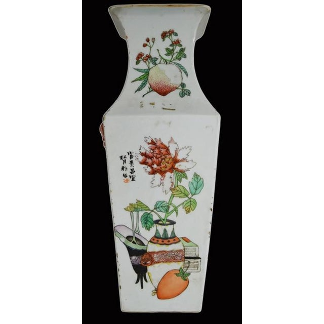Antique Hand-Painted Porcelain Vase with Scenes from 19th Century, China For Sale - Image 4 of 11