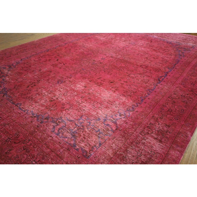 Pink Floral Overdyed Oriental Area Rug - 9' x 12' - Image 4 of 10