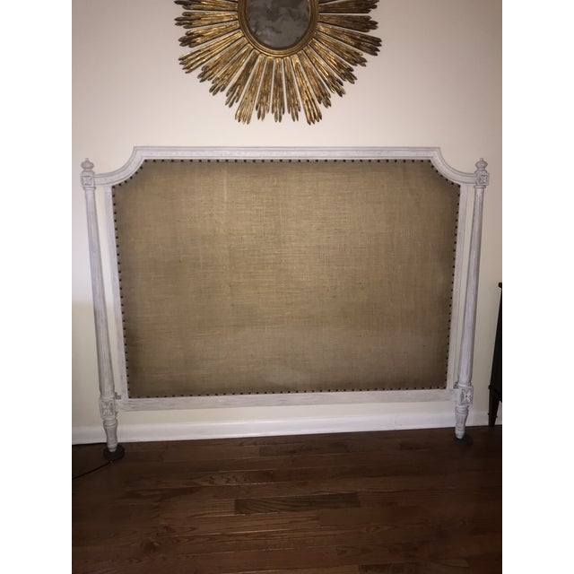 Noir - Isabelle queen headboard, White Wash. Wooden headboard with burlap upholstery and brass nailheads by Noir...