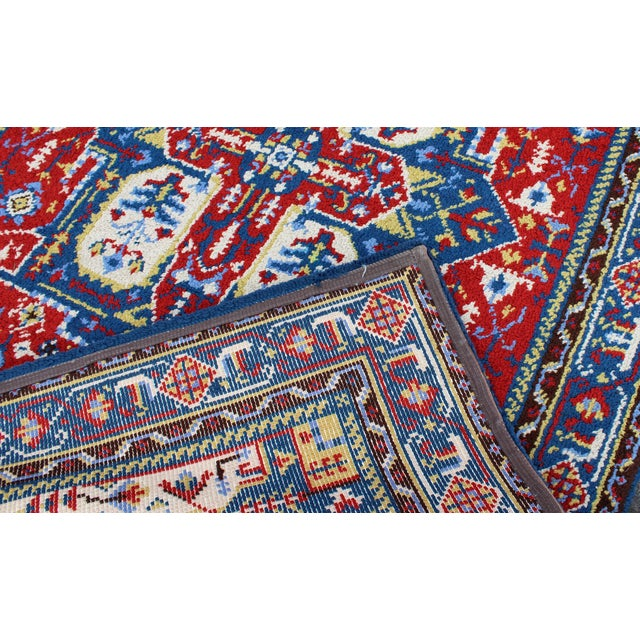 1960s Mid-Century Modern Hand-Knotted Area Rug Carpet Swedish Style Blue Red For Sale - Image 5 of 6