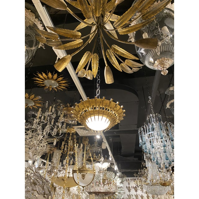 French 1920's Gilt Metal Light Fixture For Sale - Image 3 of 9