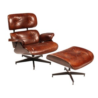 Mid-Century Leather Chair & Ottoman For Sale