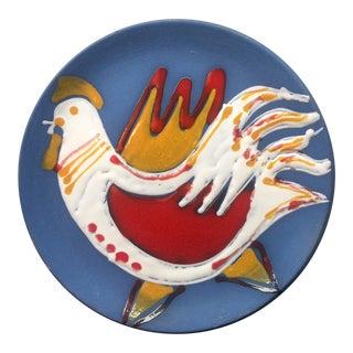 Vintage Studio Blue Hanging Rooster Plate For Sale
