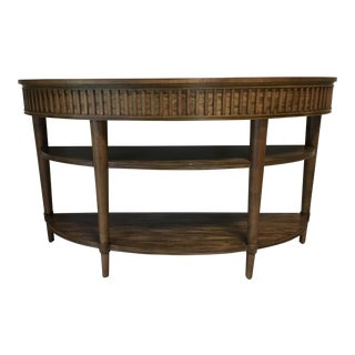 Transitional Wood Demi Lune Table For Sale