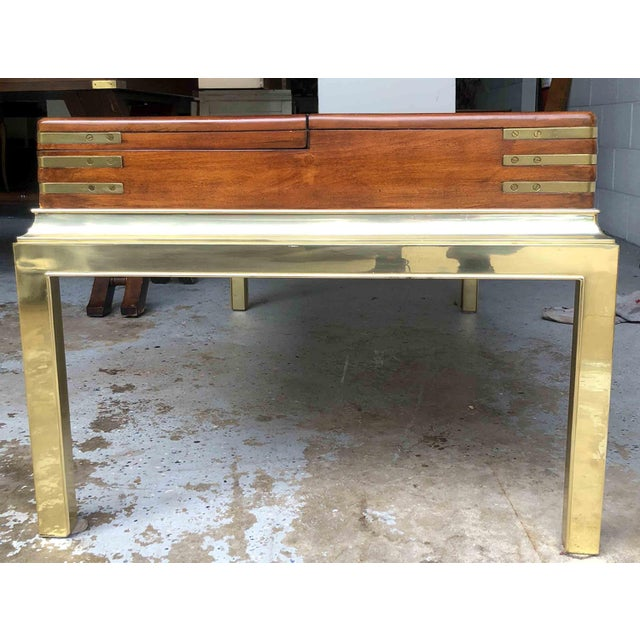 Metal Campaign Brass & Cubby Cocktail Table by Stanley Furniture For Sale - Image 7 of 10