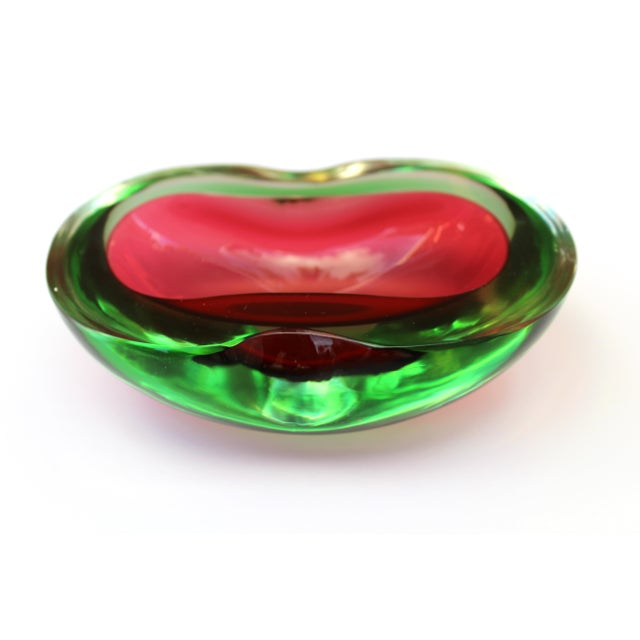 Murano Glass Red and Green Sommerso Ashtray & Bowl, 1960's For Sale - Image 12 of 13