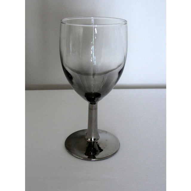 Vintage Petite Wine Glasses Marked France Silver Gray Stems - 4 For Sale - Image 5 of 11