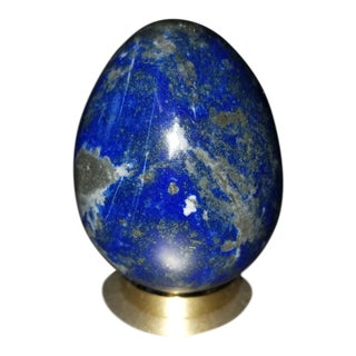 Chinoiserie Lapis Lazuli Egg With Stand For Sale