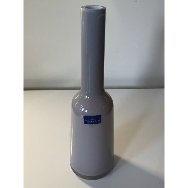 Contemporary Villeroy & Boch Light Gray Blown Glass Vase For Sale - Image 3 of 5