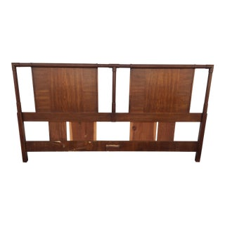 1960s Brutalist Dark Walnut Wood Turned King Size Headboard For Sale