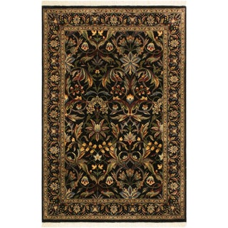 Abusson Pak-Persian Mina Black/Blue Wool Rug - 4'2 X 6'2 For Sale