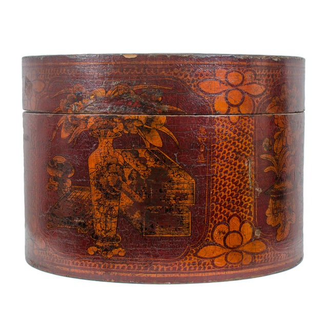 Chinese red lacquered wood hat box. Qing Dynasty, c. 1880, Shanxi Province.