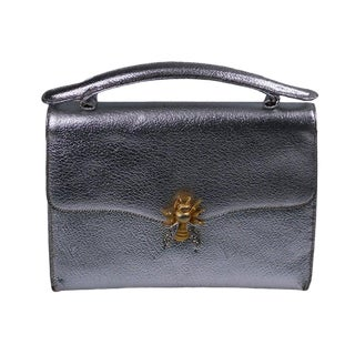 Silver Leather Bumble Bee Evening Bag For Sale