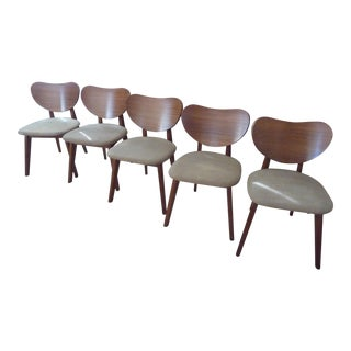 Mid-Century Brown Saltman Dining Chairs - Set of 5