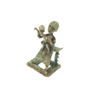 Vintage African Oxidized Copper Mother With Child Standing on Lap For Sale