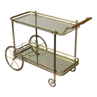 Brass Bar Cart With Glass Shelves