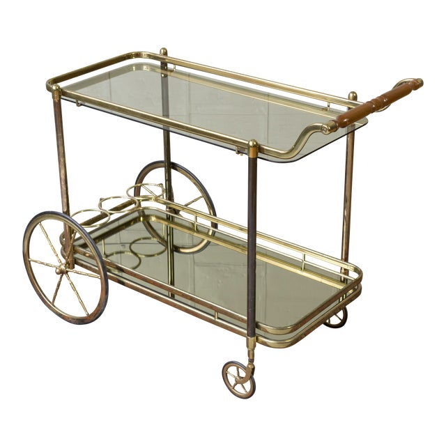 Brass Bar Cart With Glass Shelves - Image 1 of 11