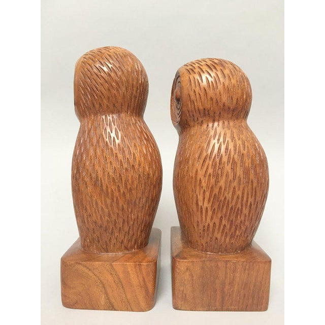 Hand Carved Wood Owl Bookends - a Pair For Sale - Image 4 of 7