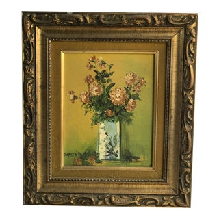 1960s Vintage G. Green Framed Signed Flower Still Life Oil Painting For Sale