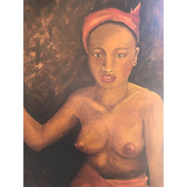 1970s 1970s Vintage Topless Woman Portrait Red Framed Painting For Sale - Image 5 of 6