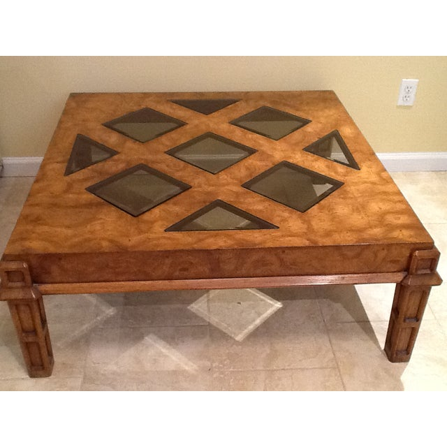 Wood Coffee Table With Smoked Glass Top Insert - Image 7 of 10