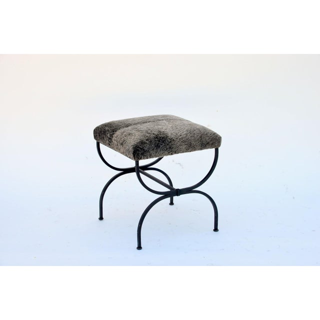 Pair of 'Strapontin' Wrought Iron and Fur Stools For Sale In Los Angeles - Image 6 of 9