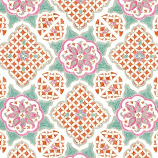 Ferran Ming Medallion Fabric, 2 Yards, Jade in Linen/Cotton For Sale