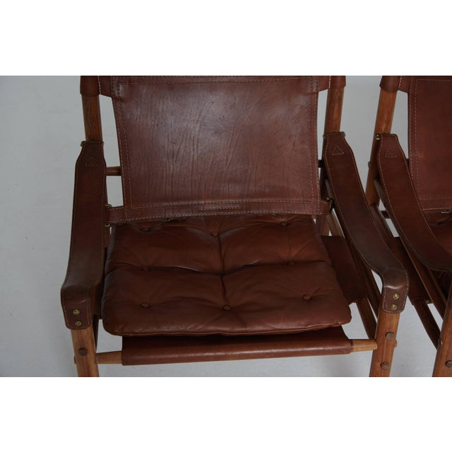 Animal Skin Arne Norell Rosewood and Brown Leather Safari Sirocco Chairs, Sweden, 1960s For Sale - Image 7 of 9