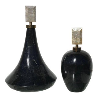 Two Tessellated Stone Decorative Perfume Bottles