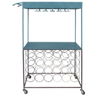 Industrial Rolling Metal Bar Cart For Sale