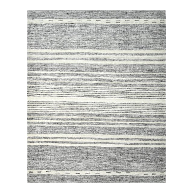 Lorrena, Contemporary Flatweave Hand Woven Area Rug, Gray, 8 X 10 For Sale