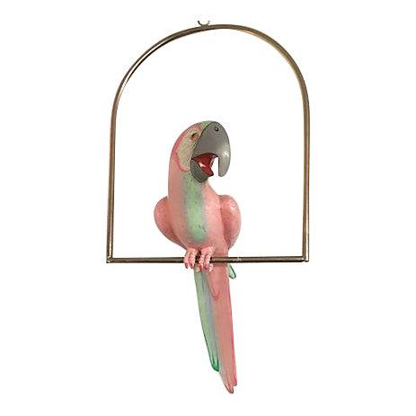 Papier Mache Parrot On Perch For Sale
