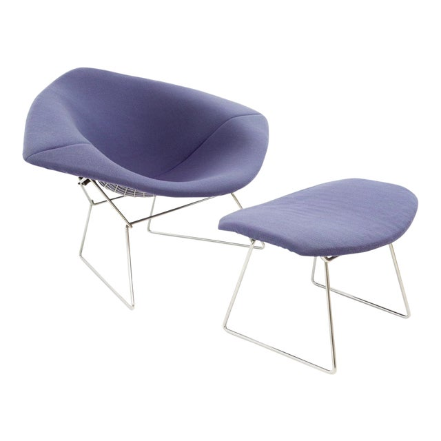 Harry Bertoia for Knoll Mid Century Diamond Rocking Chair & Ottoman - 2 Pieces For Sale
