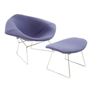 Vintage Mid-Century Harry Bertoia for Knoll Diamond Rocking Chair & Ottoman - 2 Pieces For Sale