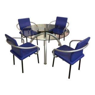 Ettore Sottsass Associati for Knoll Spider Table and 4 Mandarin Chairs For Sale